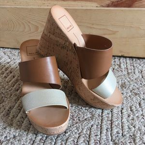 dolce vita new size 7 cork wedge two strap sandals